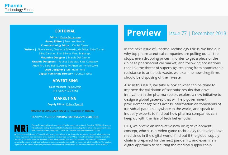 Next issue - Pharma Technology Focus | Issue 76 | November 2018
